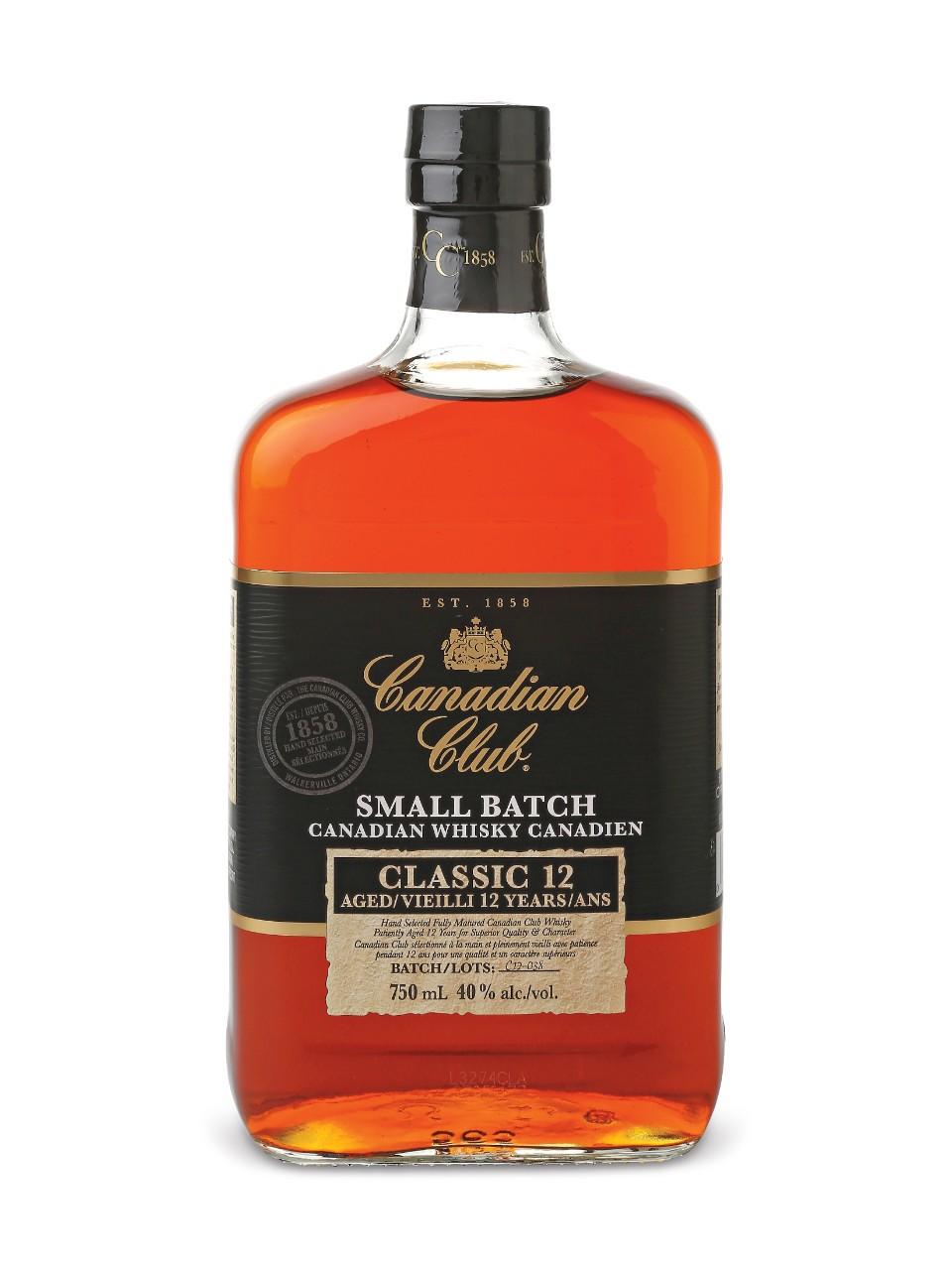 Canadian Club Small Batch 12 Year Old Whisky 750ml $17.99